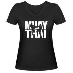Женская футболка с V-образным вырезом Муай Тай - FatLine