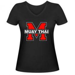 Женская футболка с V-образным вырезом Muay Thai Big M - FatLine