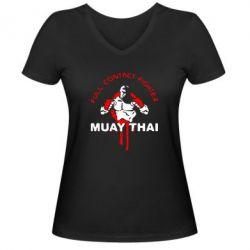Женская футболка с V-образным вырезом Muay Thai Full Contact - FatLine