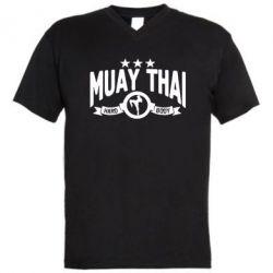 Мужская футболка  с V-образным вырезом Muay Thai Hard Body - FatLine