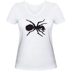 Женская футболка с V-образным вырезом Муравей - FatLine