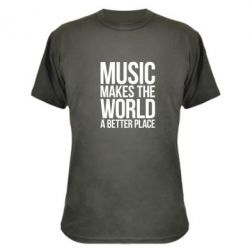 Камуфляжная футболка Music makes the world a better place - FatLine