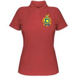 Женская футболка поло Мяч футбольный УКРАИНА цветной