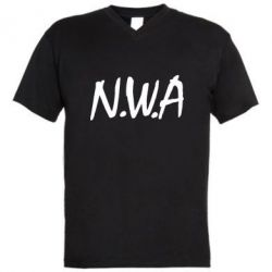 Мужская футболка  с V-образным вырезом N.W.A Logo - FatLine
