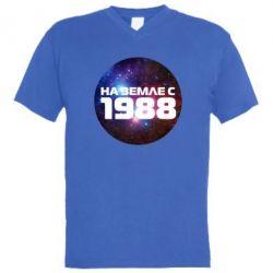 Мужская футболка  с V-образным вырезом На земле с 1988 - FatLine