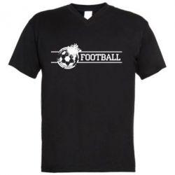 """Мужская футболка  с V-образным вырезом Надпись """"Футбол"""" - FatLine"""