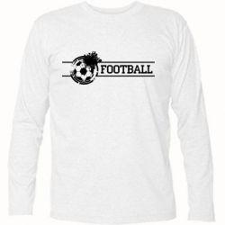 """Футболка с длинным рукавом Надпись """"Футбол"""" - FatLine"""