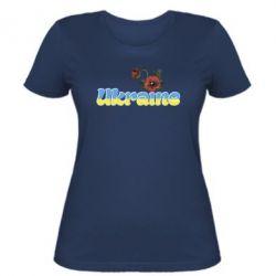 Женская футболка Надпись Украина с цветами - FatLine