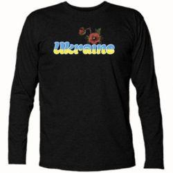 Футболка с длинным рукавом Надпись Украина с цветами - FatLine