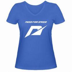 Женская футболка с V-образным вырезом Need For Speed Logo