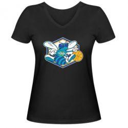 Женская футболка с V-образным вырезом New Orleans Hornets Logo - FatLine