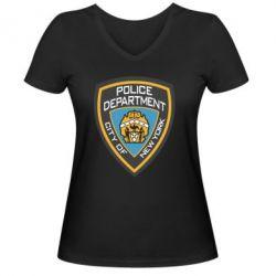 Женская футболка с V-образным вырезом New York Police Department - FatLine
