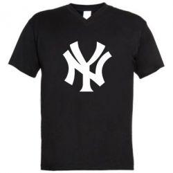 Мужская футболка  с V-образным вырезом New York yankees - FatLine