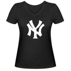 Женская футболка с V-образным вырезом New York yankees - FatLine