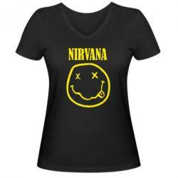 Женская футболка с V-образным вырезом Nirvana (Нирвана) - FatLine