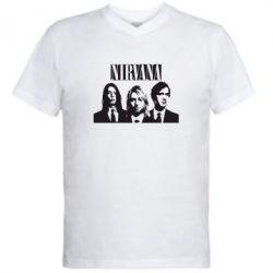 Мужская футболка  с V-образным вырезом Nirvana (Нирвана)