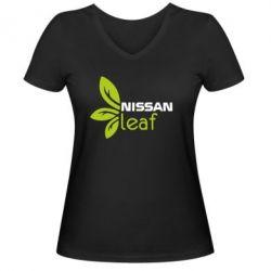 Женская футболка с V-образным вырезом Nissa Leaf - FatLine
