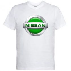Мужская футболка  с V-образным вырезом Nissan Green - FatLine