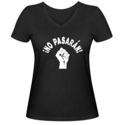 Женская футболка с V-образным вырезом No Pasaran - FatLine