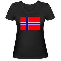 Женская футболка с V-образным вырезом Норвегия - FatLine
