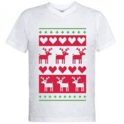 Мужская футболка  с V-образным вырезом Новогодние узоры - FatLine