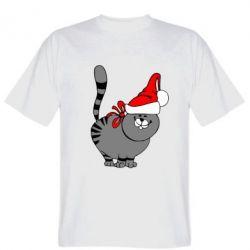 Мужская футболка Новогодний котэ - FatLine