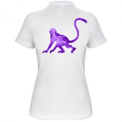 Женская футболка поло Обезьяна акварельная