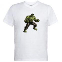 Мужская футболка  с V-образным вырезом Очень злой Халк - FatLine