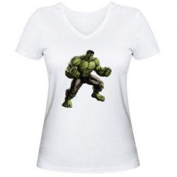 Женская футболка с V-образным вырезом Очень злой Халк - FatLine