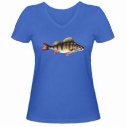 Женская футболка с V-образным вырезом Окунь - FatLine