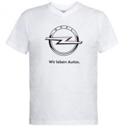 Мужская футболка  с V-образным вырезом Opel Wir leben Autos
