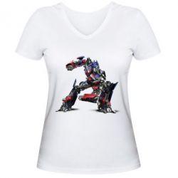 Женская футболка с V-образным вырезом Оптимус Прайм