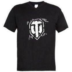 Мужская футболка  с V-образным вырезом Отпечаток гусениц WOT - FatLine