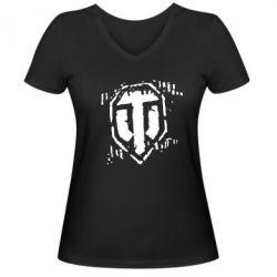Женская футболка с V-образным вырезом Отпечаток гусениц WOT - FatLine