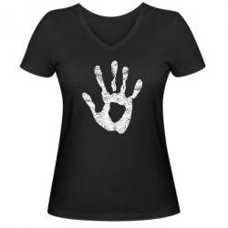 Женская футболка с V-образным вырезом Отпечаток руки - FatLine