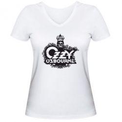 Женская футболка с V-образным вырезом Оззи Озборн - FatLine
