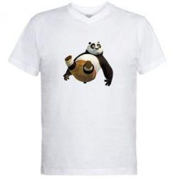 Мужская футболка  с V-образным вырезом Падающая Панда - FatLine