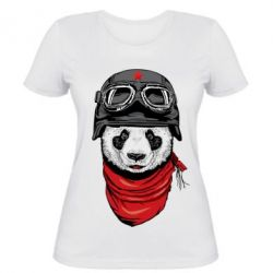 Женская футболка Панда в каске - FatLine