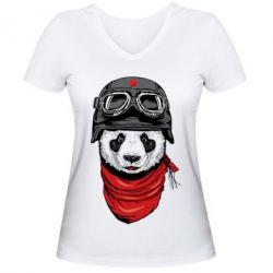 Женская футболка с V-образным вырезом Панда в каске - FatLine