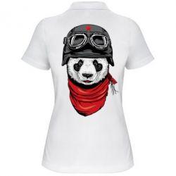 Женская футболка поло Панда в каске
