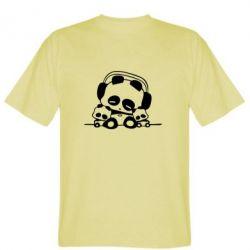 Мужская футболка Панда в наушниках - FatLine