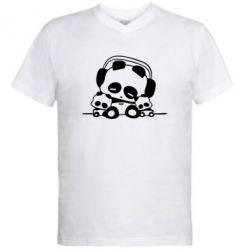 Мужская футболка  с V-образным вырезом Панда в наушниках - FatLine