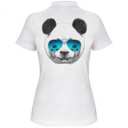 Женская футболка поло Панда в очках