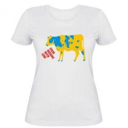 Женская футболка Патріотична корова