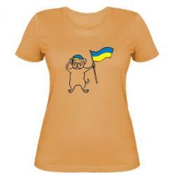 Женская футболка Пес з прапором - FatLine