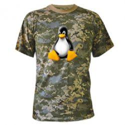 Камуфляжная футболка Пингвин Linux - FatLine