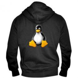 Мужская толстовка на молнии Пингвин Linux - FatLine