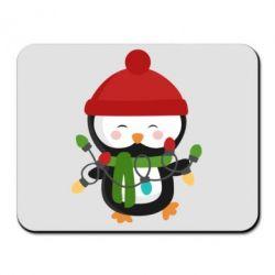 Коврик для мыши Пингвин с гирляндой - FatLine