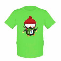 Детская футболка Пингвин с гирляндой - FatLine