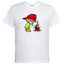 Мужская футболка  с V-образным вырезом Писающий хулиган-пожарный - FatLine